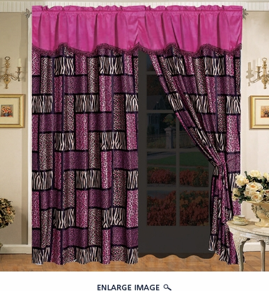 Safari Pink Micro Suede Curtain Set