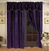 Safari Purple and Black Micro Suede Curtain Set