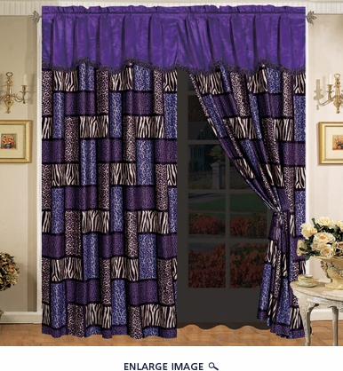 Safari Purple Micro Suede Curtain Set