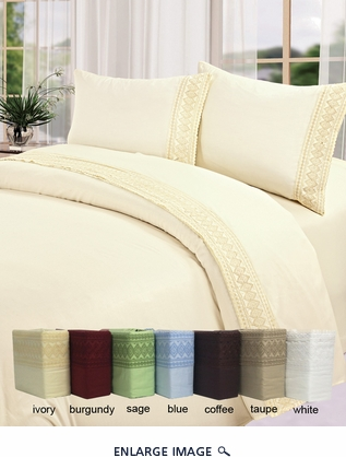 Sage Cotton 450 Thread Count Embroidery Sheet Set Queen