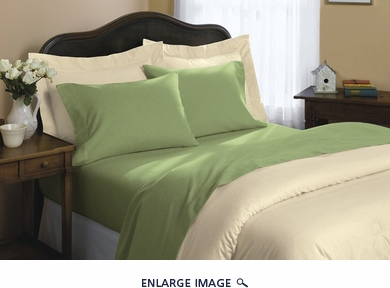 Sage Flannel Cotton Sheet Set Full