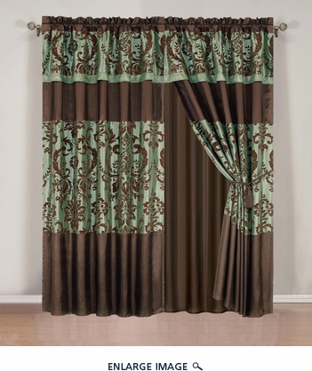 Salzburg Aqua Flocked Curtain Set w/ Valance/Sheer/Tassels