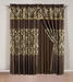 Salzburg Coffee Flocked Curtain Set w/ Valance/Sheer/Tassels
