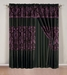 Salzburg Purple Flocked Curtain Set w/ Valance/Sheer/Tassels
