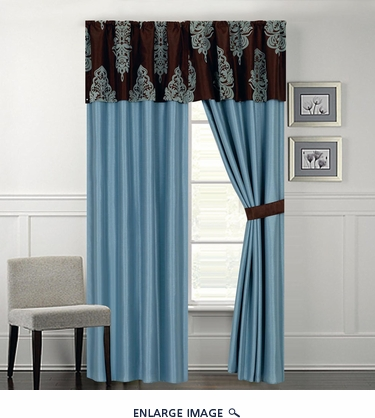 San Marino Blue and Coffee Curtain Set
