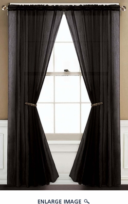 Sheer Black Rod Pocket Window Curtain Panel