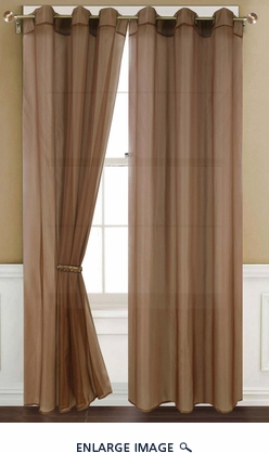 Sheer Brown Gommet Window Curtain Panel