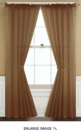 Sheer Brown Rod Pocket Window Curtain Panel