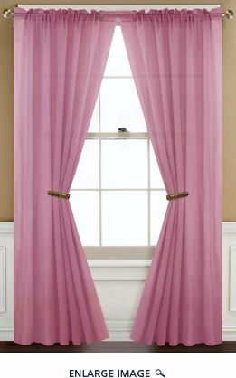 Sheer Dusty Pink Rod Pocket Window Curtain Panel
