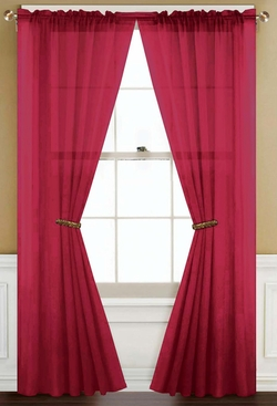 Sheer Red Rod Pocket Window Curtain Panel
