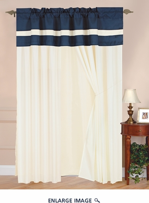 Shilo Navy and White Embroidered Curtain Set w/ Tassels / Sheers