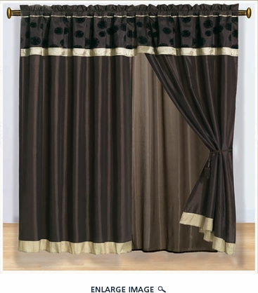 Shimmer Flocking Curtain Set