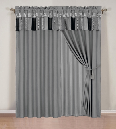 Silver and Gray Chenille Stripes Curtain Set