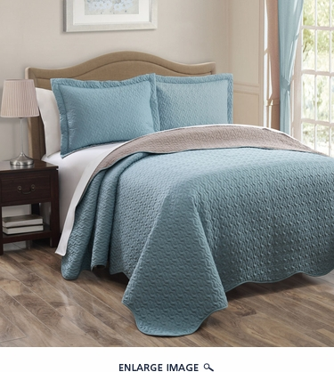 Spa Blue/Taupe Reversible Bedspread/Quilt Set Queen