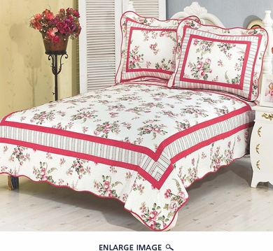 Spring Rose Stripe Cotton Reversable Quilt Set Twin