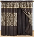 Taupe and Coffee Flocked Curtain Set w/ Valance/Sheer/Tassels