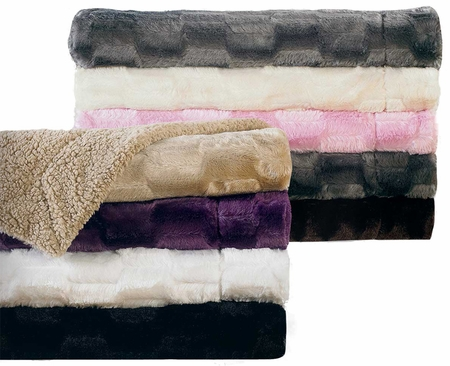 Taupe Deco Lux Faux Fur Reversible Throw