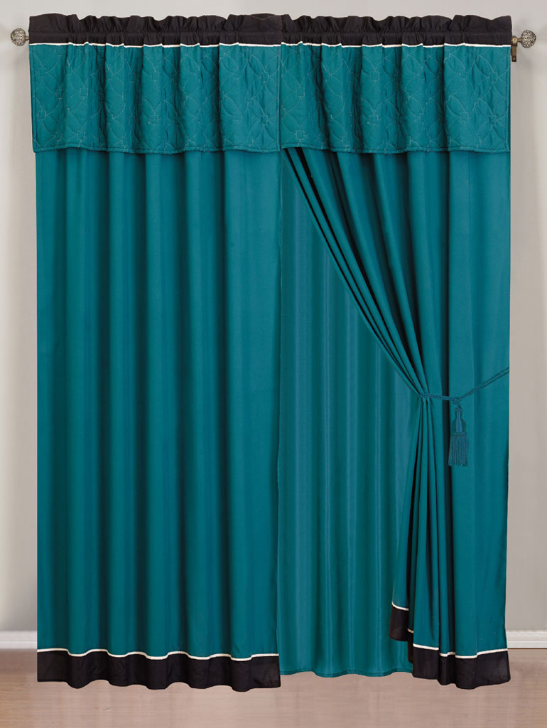 Teal and black curtains