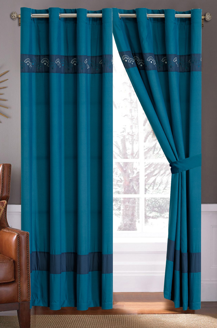 Windsor teal eyelet curtains harry corry limited - Teal Navy Fan Embroidered Curtain Set