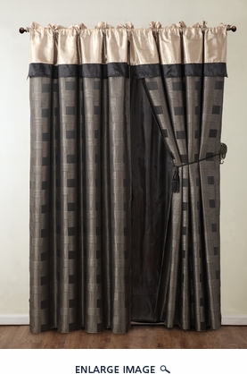 Theo Black and Gray Jacquard Curtain Set w/ Valance/Sheer/Tassels
