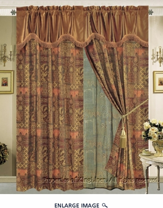 Tiffany Jacquard Curtain Set w/ Valance/Sheer/Tassels