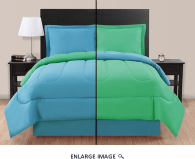 Twin Blue/ Green Reversible Comforter Set