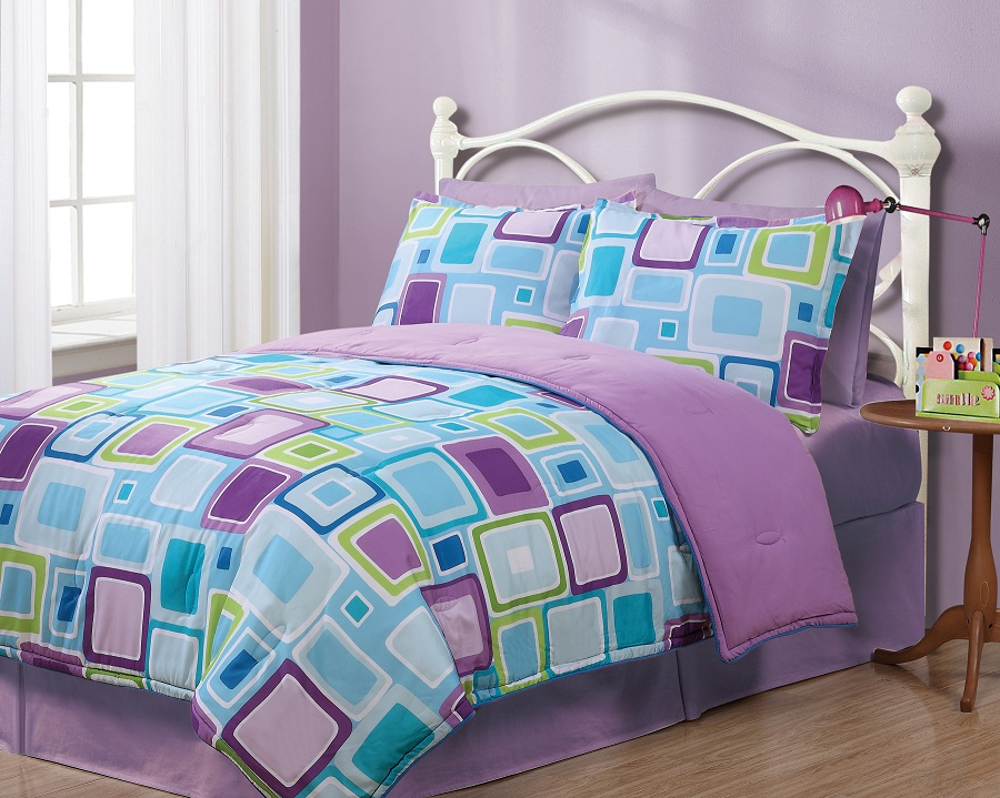 Twin geo aqua square reversible comforter set - Purple and blue comforter sets ...