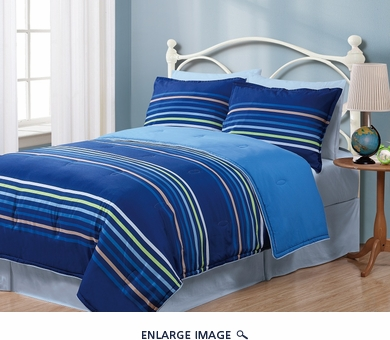 Twin Geo Stripes Blue Reversible Comforter Set