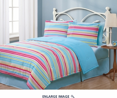 Twin Geo Stripes Multi Reversible Comforter Set