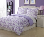 Twin Microfiber Kids Dainty Bedding Comforter Set Purple