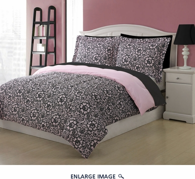 Twin Microfiber Kids Jeanette Bedding Comforter Set Pink/Black