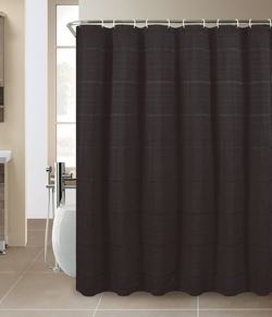 Valencia Jacquard Shower Curtain w/Hooks and Liner Black