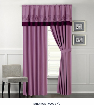 Vanessa Embroidered Curtain Set Purple