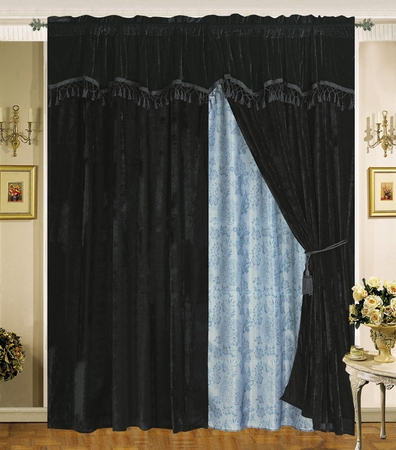 Velvet Black Curtain Set w/ Valance/Sheer/Tassels