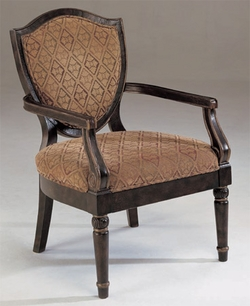 Walnut Diamond Print Occassional Arm Chair