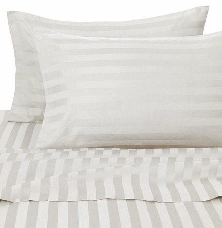 White Damask Stripe 500 Thread Count Cotton Pillowcases Standard/Queen