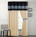 Yasmin Blue and Black Curtain Set