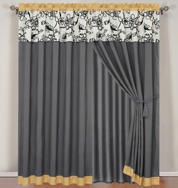Yellow and Gray Floral Curtain Set w/ Valance/Sheer/Tassels
