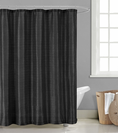 Zamora Jacquard Shower Curtain w/Hooks and Liner Black