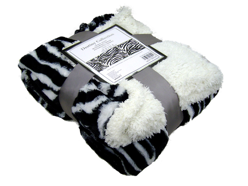 Zebra Black and White Faux Fur Throw