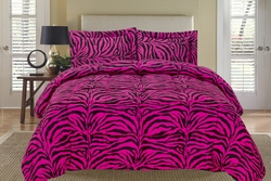 Zebra Pink and Black Down Alternative Comforter Set