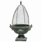 Bird On Branch Urn with French Wire Trellis