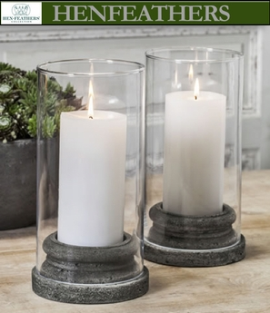 "Classic Pillar Candleholder w/Hurricane 3"" Candle - Set of 4"