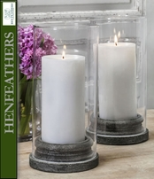 "Classic Pillar Candleholder w/Hurricane 4"" Candle - Set of 4"