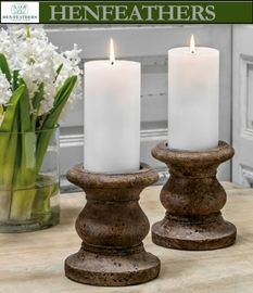 "4 Large Classic Tall Pillar Candleholders 5.5""dia. - Set of 4"