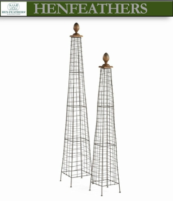 French Wire Garden Finials Set of 2 n HenFeatherscom
