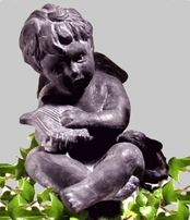 Garden Statues | Angel Statues | Cherub with Harp and Lamb {USA}