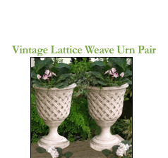 See the Vintage Lattice Weave Urn Pair