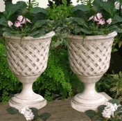 Lattice  Weave Urn Pair  GREAT for HOLIDAY Topiary and Evergreens w/ Lights {USA}