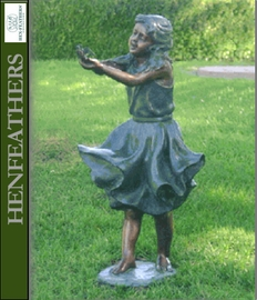 Windy - Girl Holding Bird Bronze Garden Sculpture
